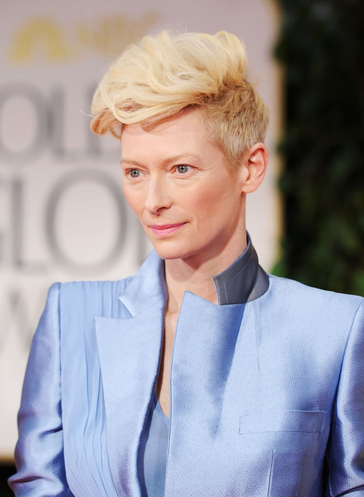 Tilda Swinton in blue at the Golden Globes.