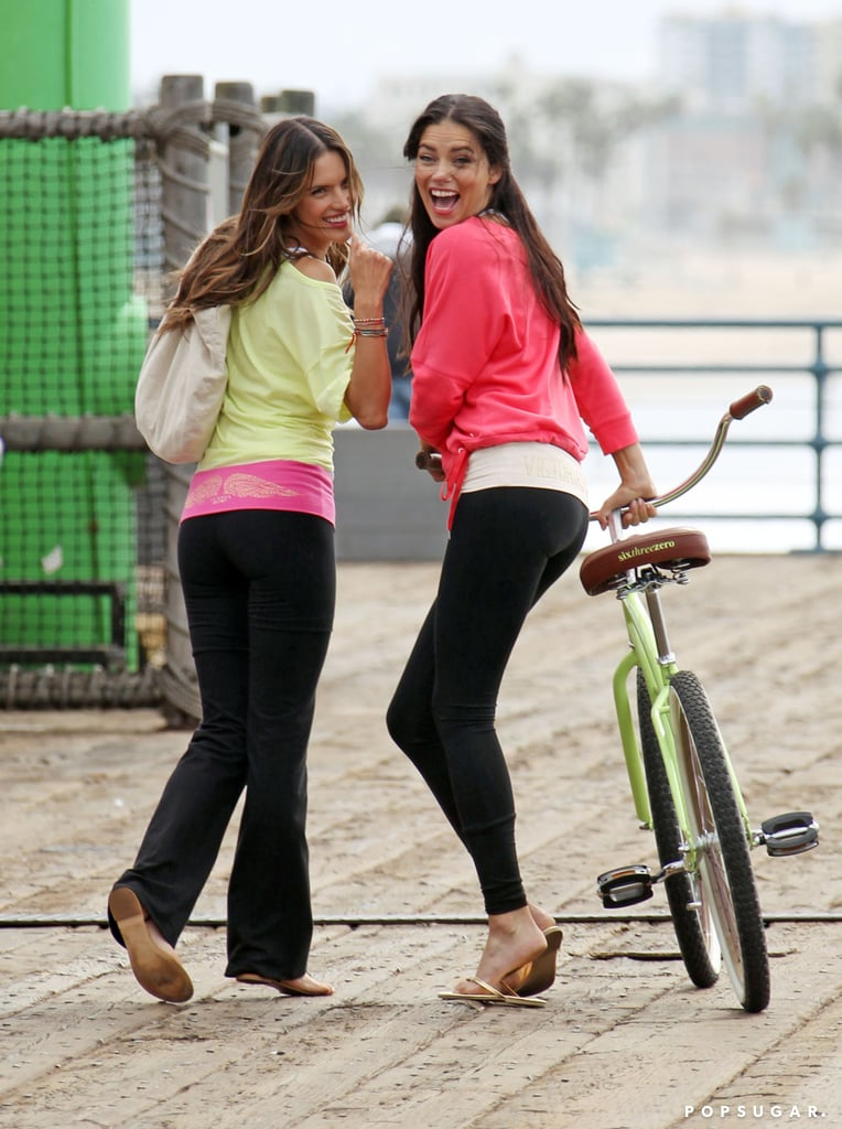 Alessandra Ambrosio and Adriana Lima wore workout gear.