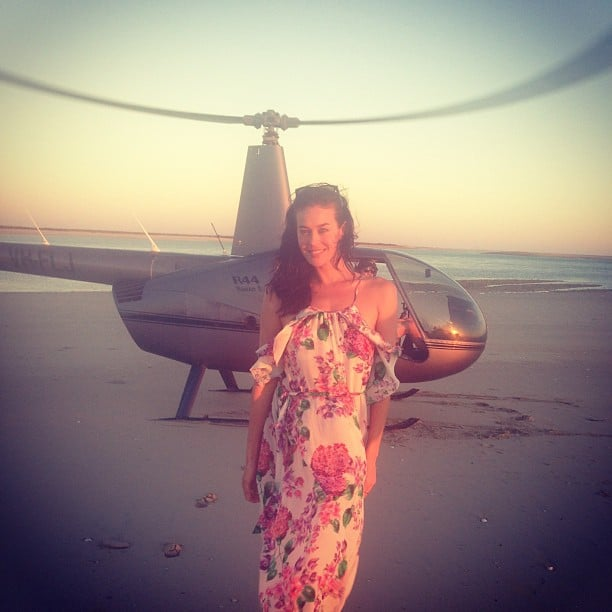 Megan Gale landed in beautiful Broome via helicopter. Source: Instagram user megankgale