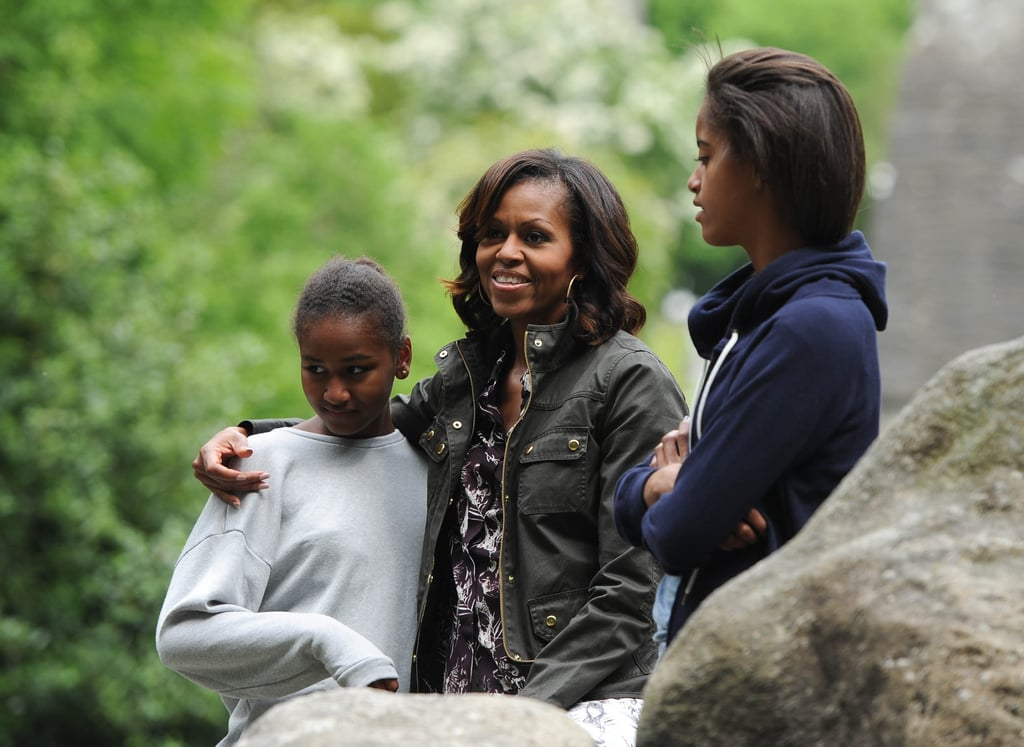 Michelle, Sasha, and Malia Obama kept things casual during a June 2013 visit to the Wicklow Mountains National Park in Ireland.