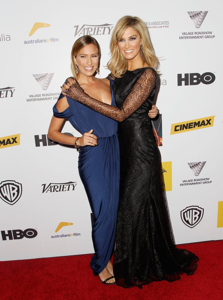 Best friends Renee Bargh and Delta Goodrem hugged it out on the red carpet at the 2nd Annual Australians in Film Awards in October 2013.