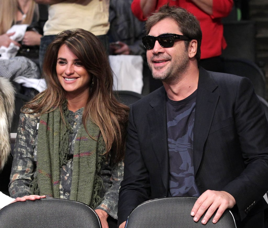 Penélope Cruz and Javier Bardem celebrated the holidays at the Lakers game together on Christmas Day in 2010.