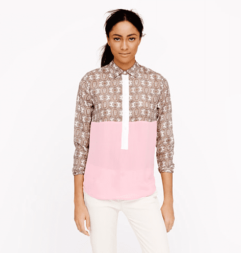 Picture this J.Crew Collection Mixed Silk Popover Shirt ($130, originally $198) with leather shorts and ankle booties to transition right to Fall.