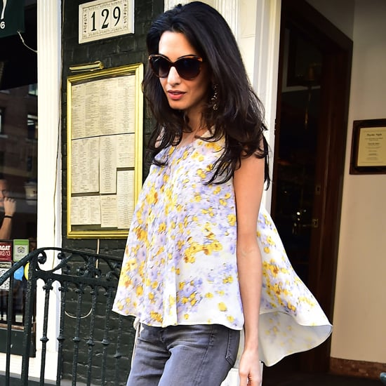 Amal Clooney Wearing a Floral Giambattista Valli Top