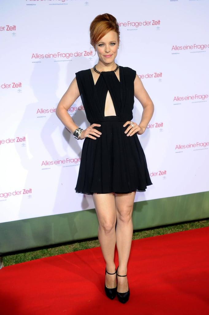 Rachel McAdams showed some skin in Saint Laurent on the red carpet for the Munich About Time premiere.