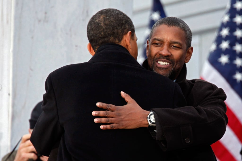 President Obama & Denzel Washington Hug