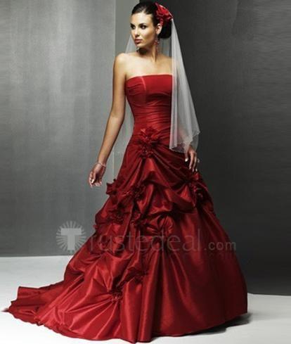 Ball Gown Strapless Chapel Train Satin Wedding Dress