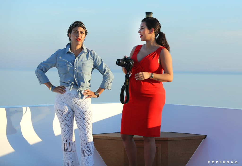 Kim Kardashian and her sister Kourtney admired the view in Greece.