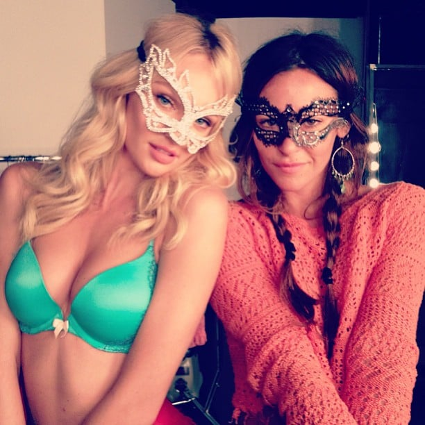 Candice Swanepoel accessorised with a masquerade mask during a Victoria's Secret shoot. Source: Instagram user angelcandices
