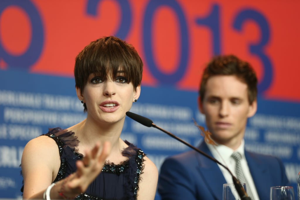 Anne Hathaway and Eddie Redmayne got together for a press event in Berlin on Saturday.