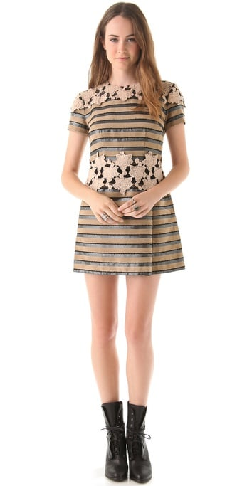 A short-sleeved dress that perfects the art of print-mixing. Charlotte Ronson A-Line Dress with Lace Panels ($365)