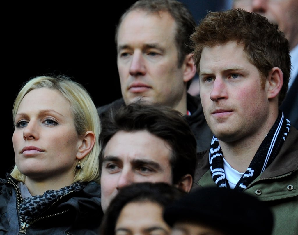 Zara and Prince Harry watched the rugby championship between England and France in February of 2012.