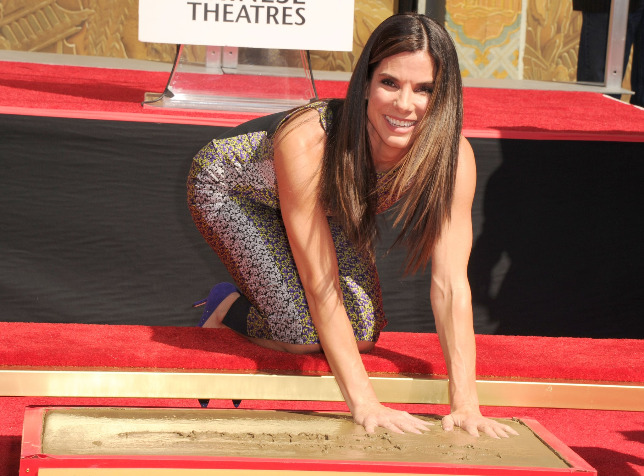 Sandra Bullock left her mark at the TCL Chinese Theatre.