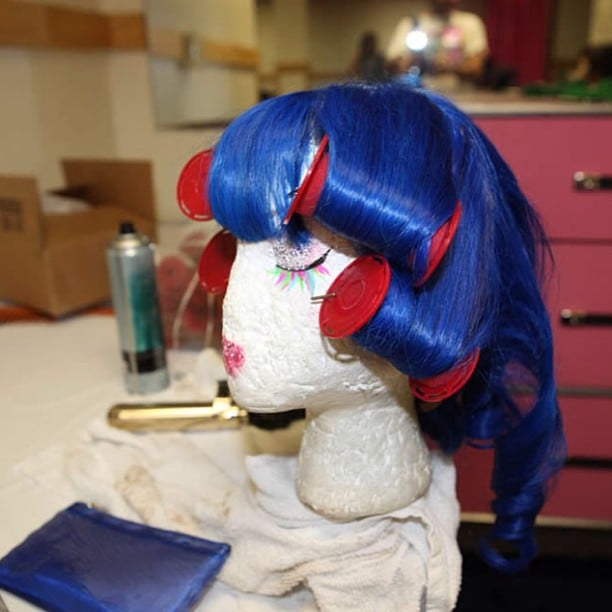 Katy Perry showed off her iconic blue wig in its resting state.  Source: Instagram user californiacat