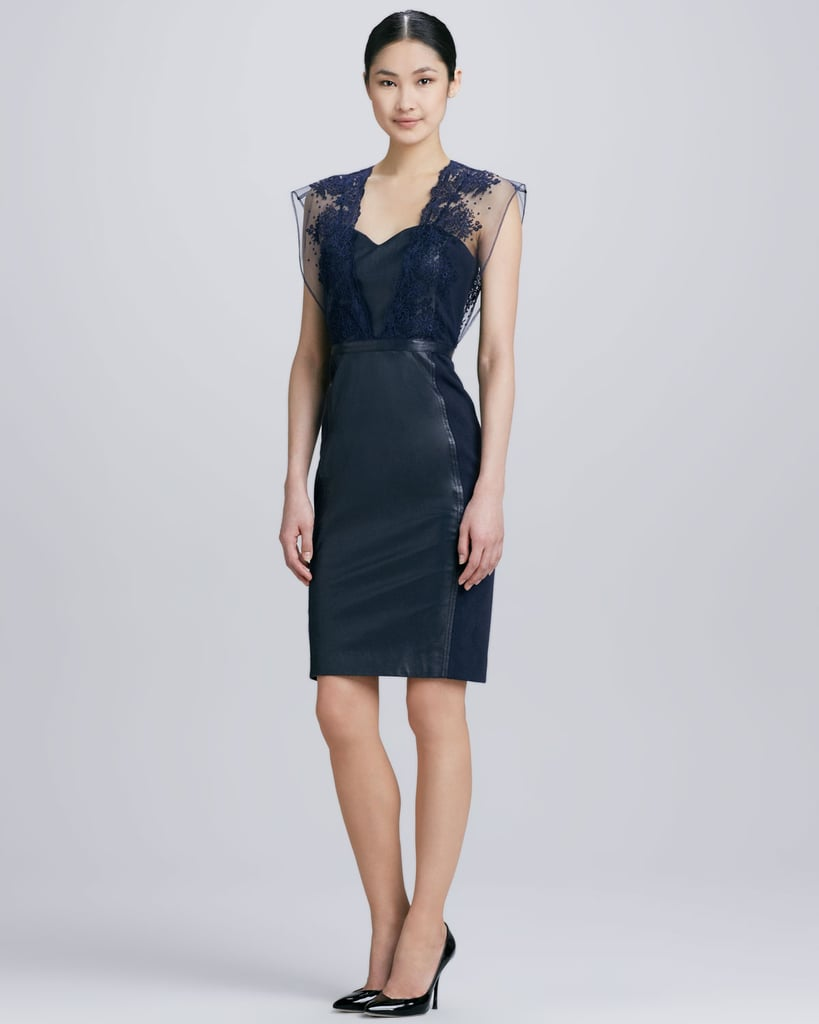 Leather mixes with lace in this dark navy Catherine Deane style ($860).