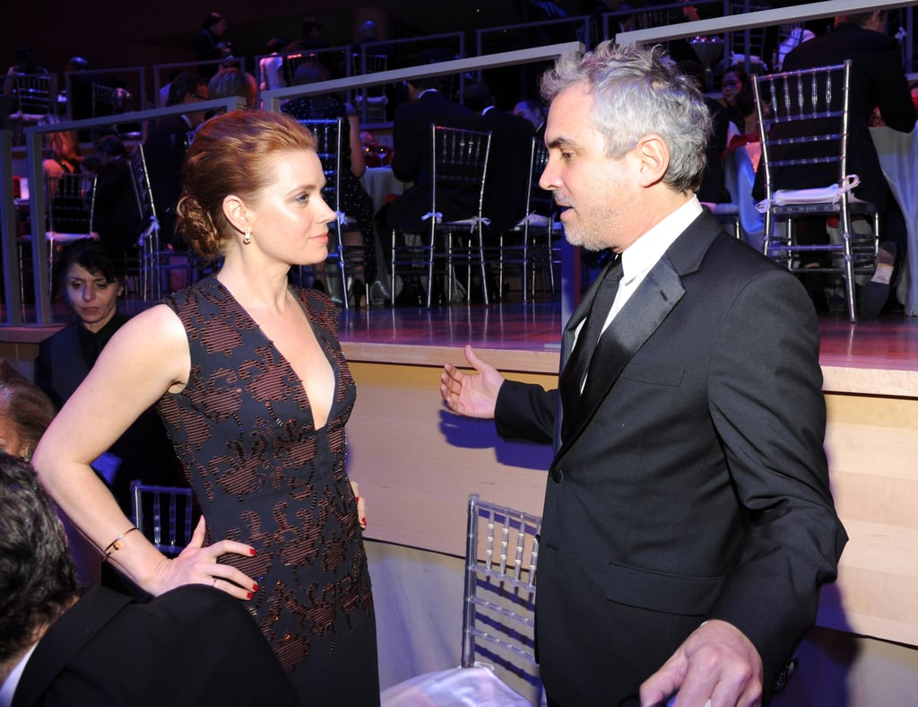 Amy Adams chatted with Alfonso Cuarón inside the event.
