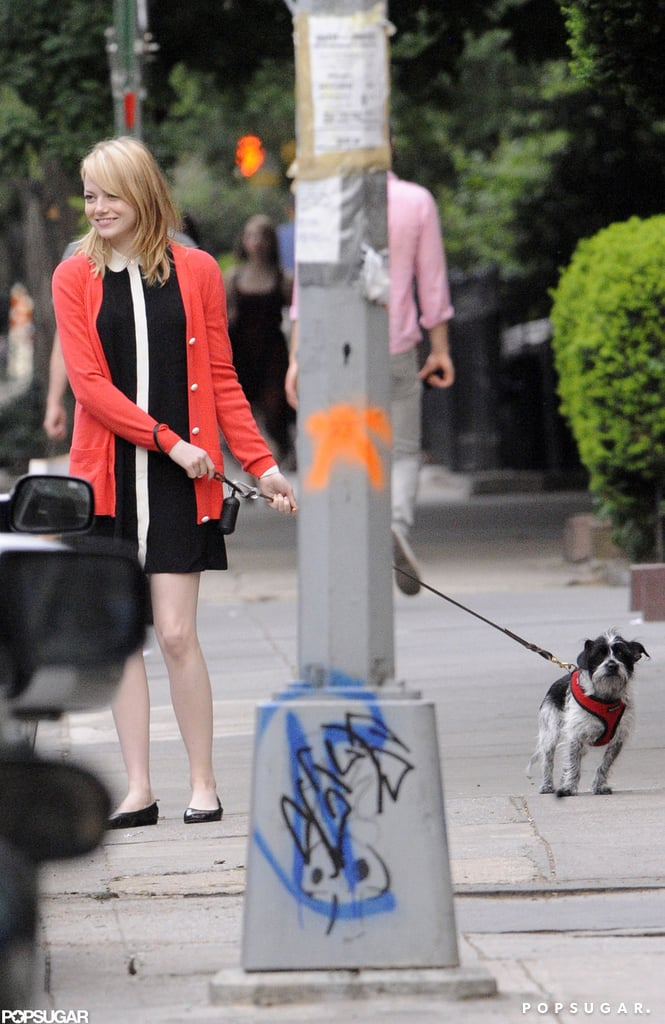 Emma Stone walked her mom out to a car with her dog in tow in NYC.