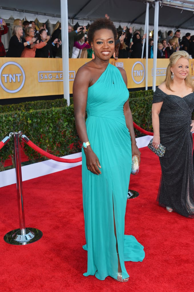 Viola Davis wowed in a turqouise Monique Lhuillier gown which she paired with Jimmy Choo sandals and Cathy Waterman jewels.