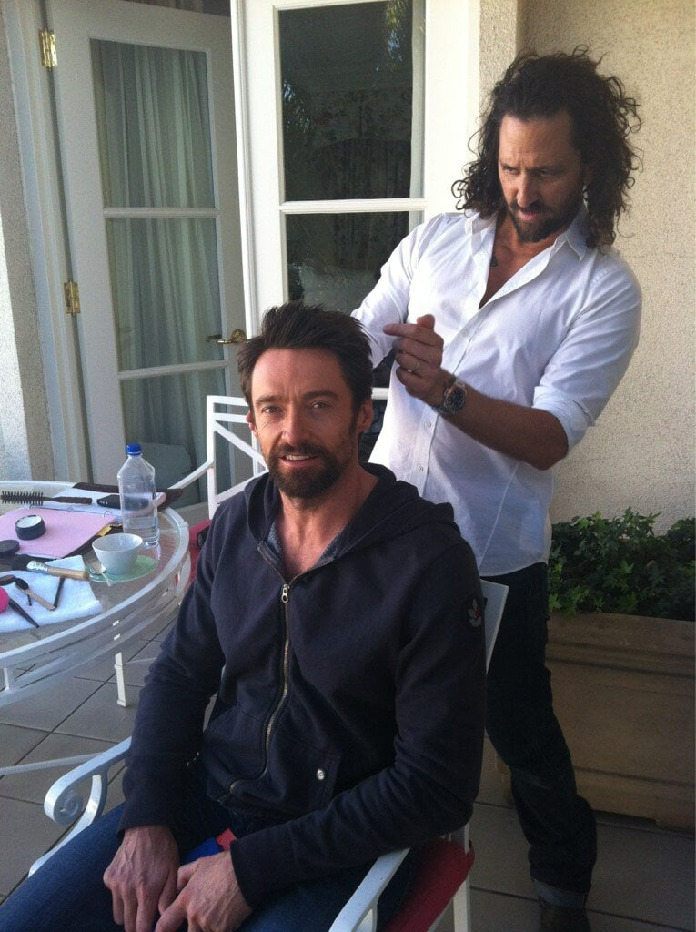 Hugh Jackman's getting his 'do on before he hits the red rug.  Source: Twitter user RealHughJackman