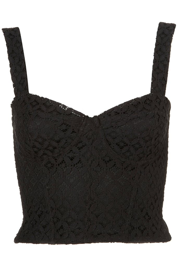 What ladylike look is complete without the perfect figure-flattering bustier to pair with your high-waisted skirts?  Topshop Lace Corset Style Top ($45)