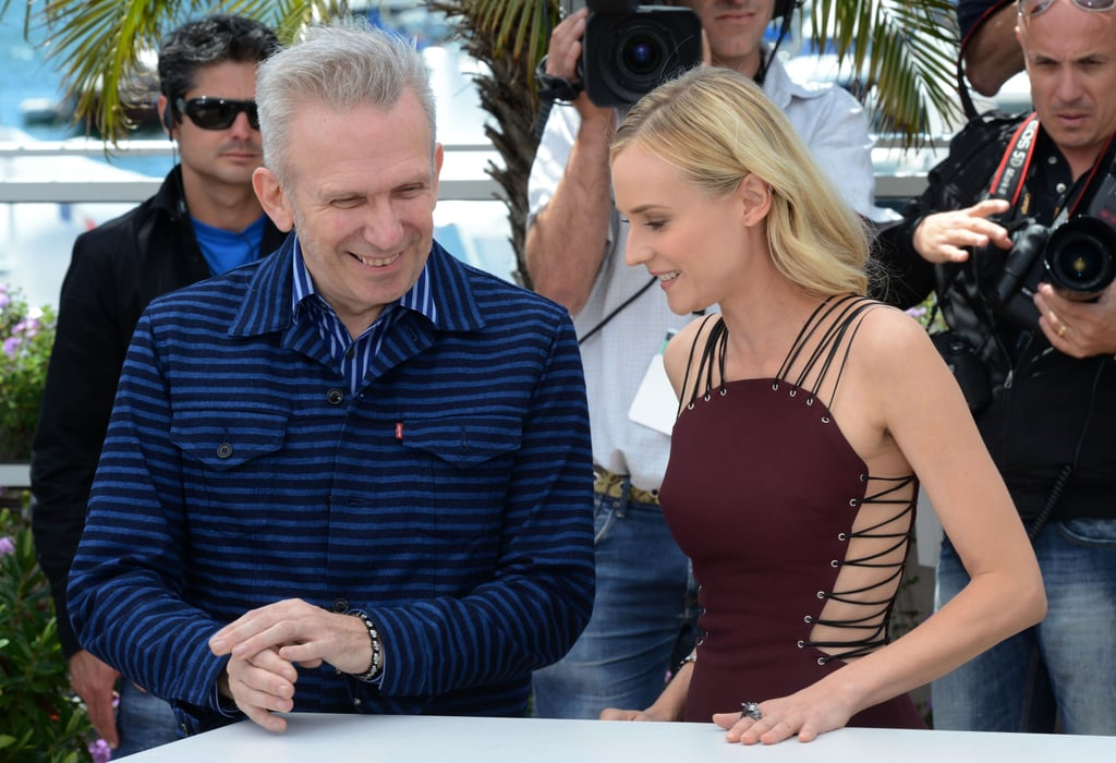 Jean Paul Gaultier and Diane Kruger chatted at the jury photocall in Cannes.