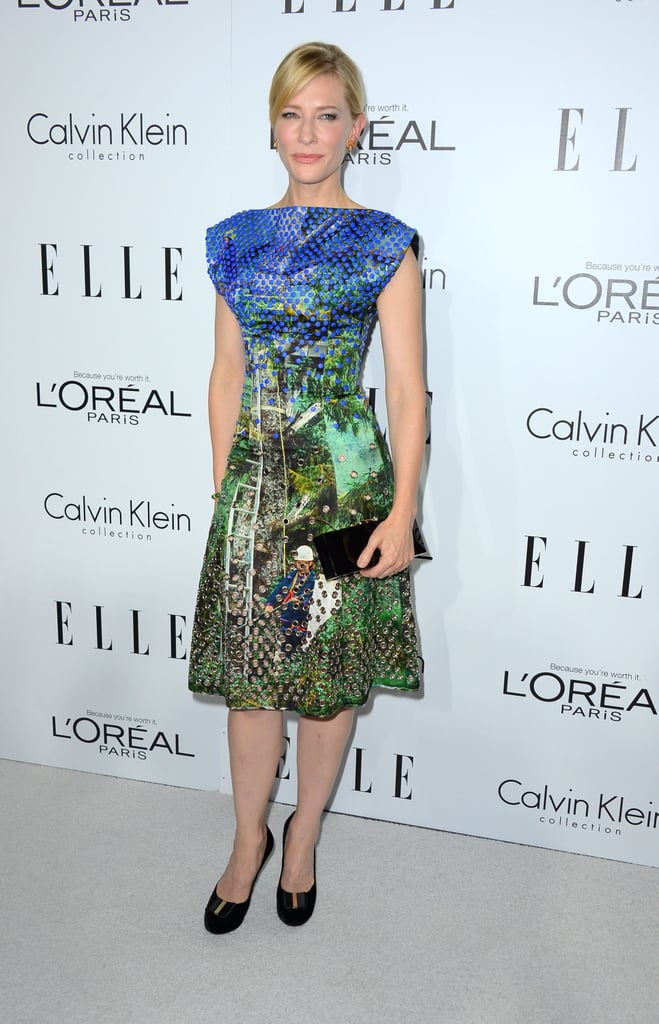 Cate Blanchett showed off her fashion prowess in a digital-print Proenza Schouler dress.