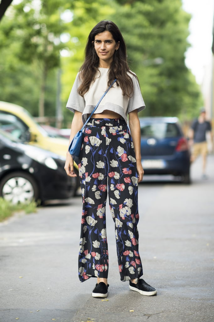 A pair of easy printed pants can feel just as seasonal as a long, flowy skirt. Just top with a cropped top to further the nonchalant approach to getting dressed. Source: Le 21ème | Adam Katz Sinding