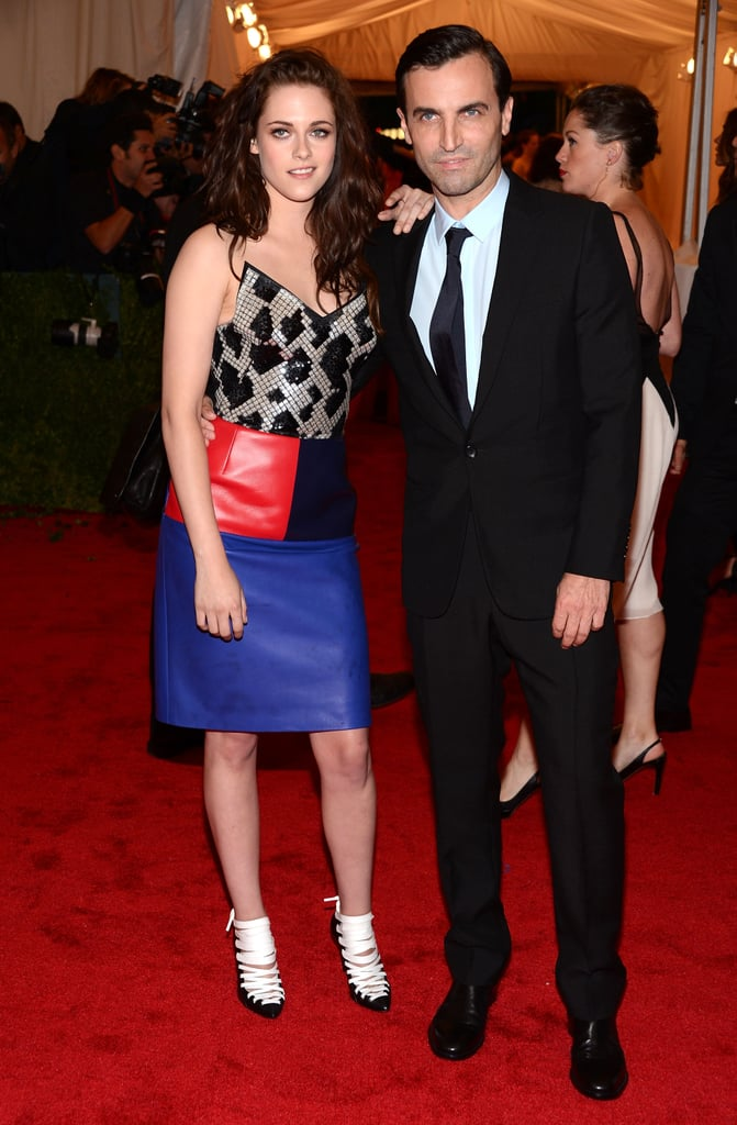 Kristen Stewart hung out on the red carpet at the Met Gala with Balenciaga designer Nicolas Ghesquiere.