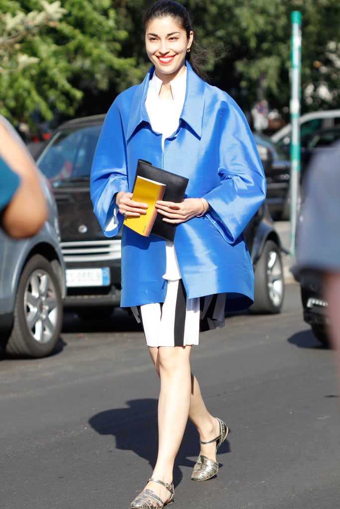 Caroline Issa added a high-impact layer to striped bottoms and flats.