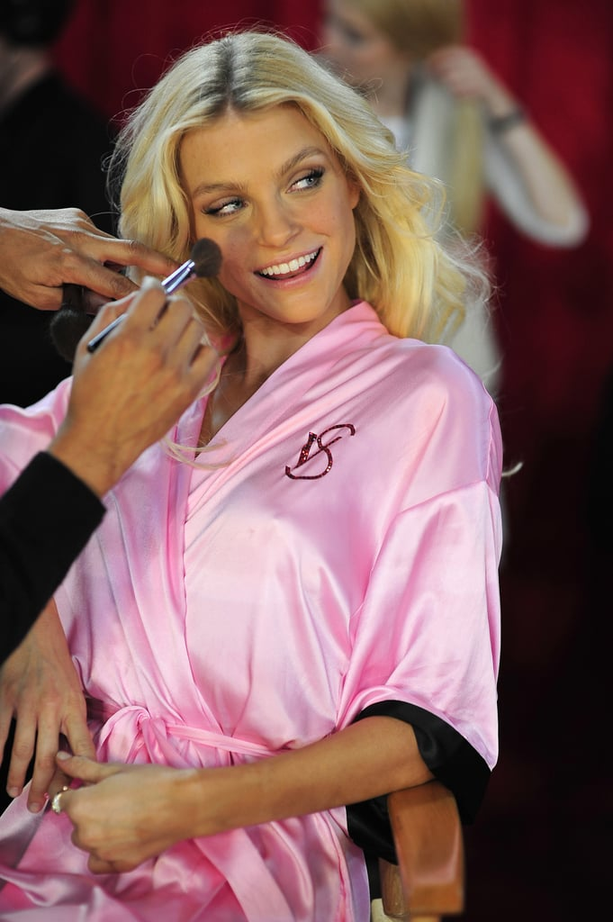 Jessica Stam posed backstage in 2010.