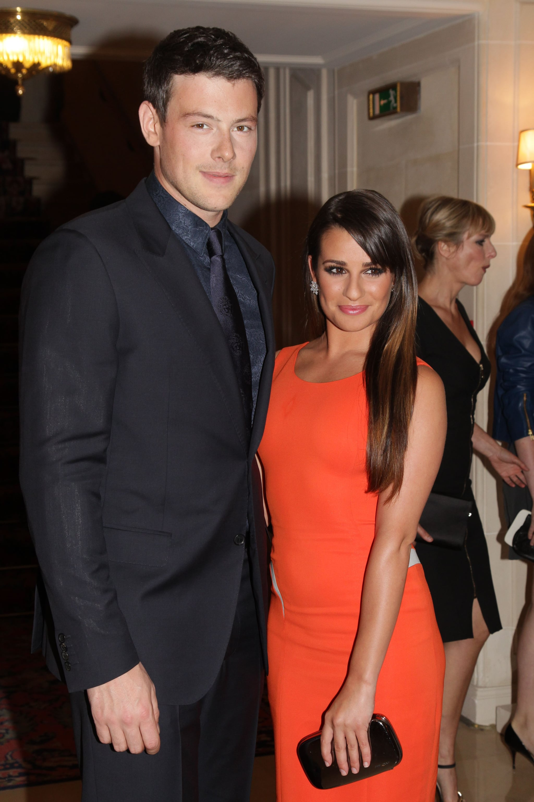 Lea Michele posed with Cory Monteith at the Versace show for Paris Fashion Week.