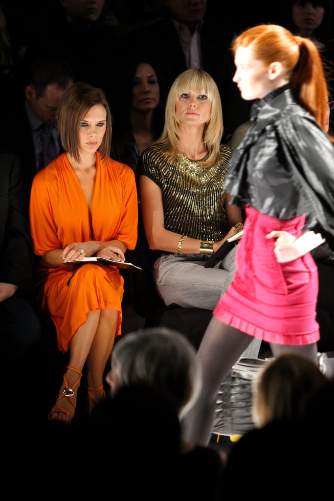 Victoria Beckham and Heidi Klum watched the final Project Runway show in February 2008 in NYC.