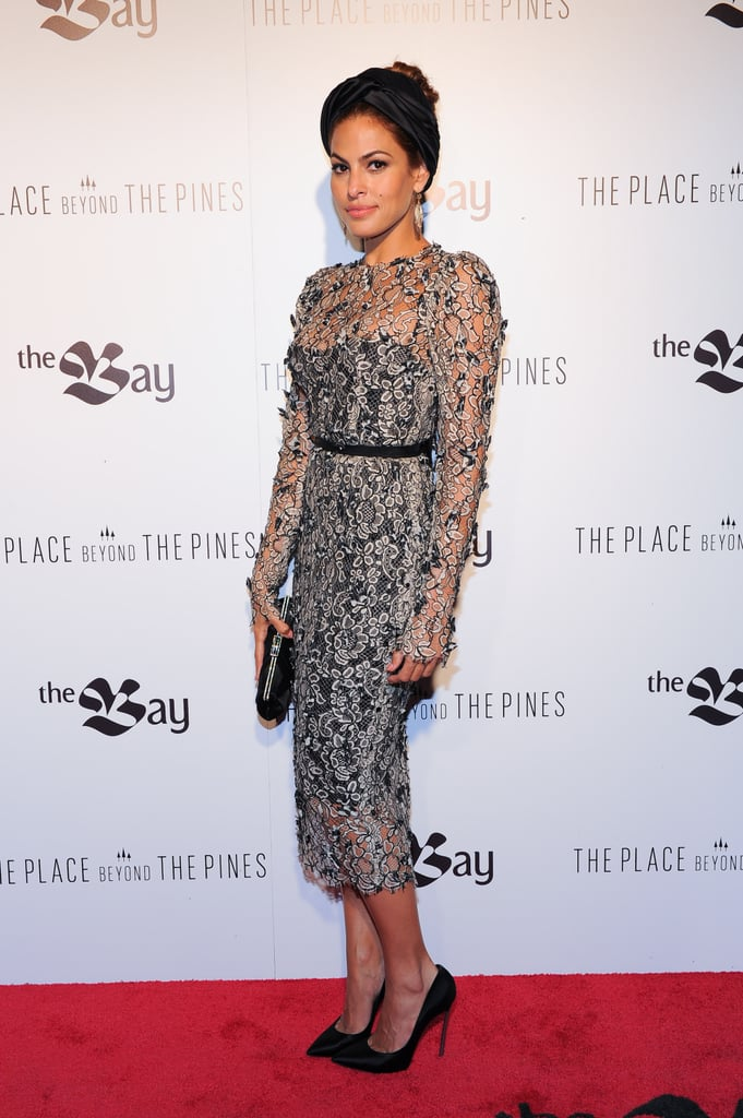 Eva Mendes took a risk with this semi-sheer lace Dolce & Gabbana dress, even more so by pairing it with a Prada turban, but it seems to evoke a retro bombshell vibe more than ever. What do you think of her The Place Beyond the Pines premiere look?