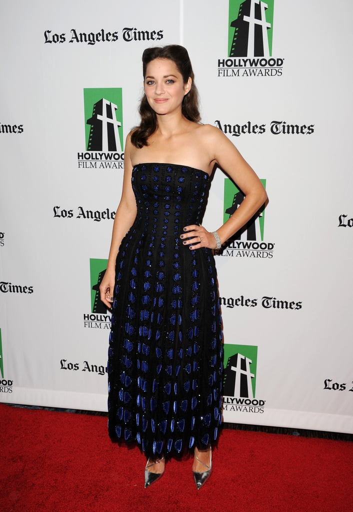 Marion Cotillard posed for photos on the red carpet at the Hollywood Film Awards gala in Los Angeles.