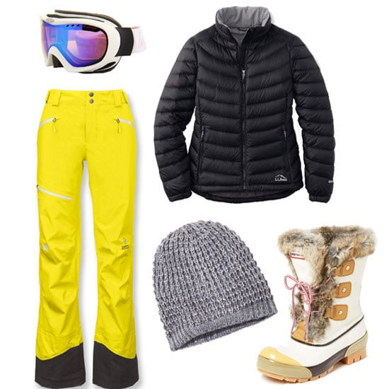 When you hit the slopes, mix fashion with function with bright yellow pants, a slim-fitting puffer — no Michelin Man effect here — and standout snow accessories. Shop the look:  Bolle Simmer Goggles ($100) L.L. Bean Ultralight 850 Down Jacket ($179) Express Metallic and Sequin Open Knit Beanie ($21) Hunter Cathie Boot ($225) The North Face Free Thinker Shell Pants ($349)