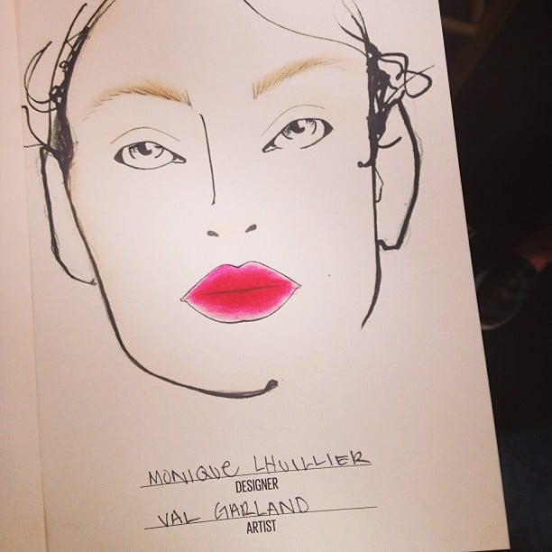 The face chart from the Monique Lhuillier presentation showed of a pink and punchy lip hue by MAC Cosmetics.