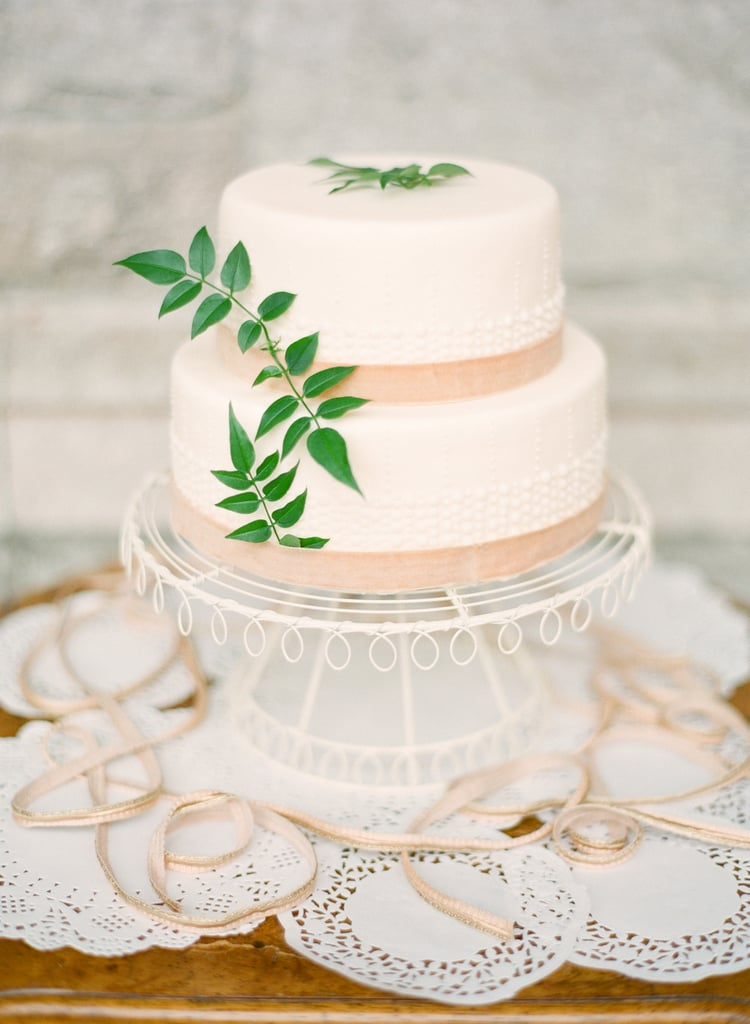 Just a hint of bead-like texture, lace, and leaves makes this one divine dessert.