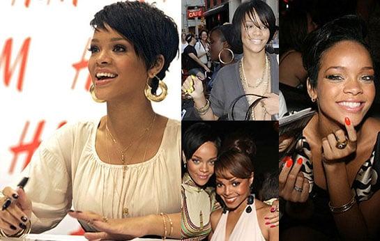 Rihanna's Pink, Orange, Yellow and Black Nail Polish
