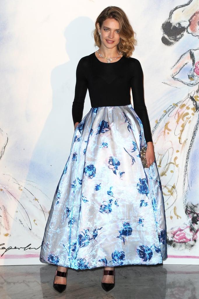 Natalia Vodianova in Floral Dior Skirt