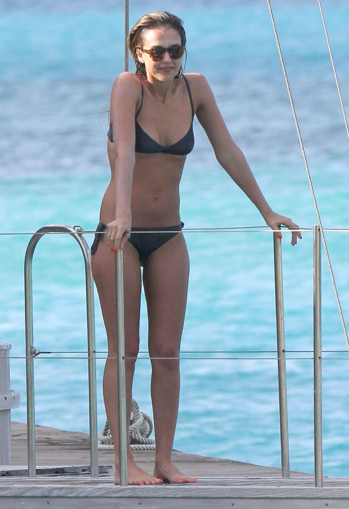 Jessica Alba prepared to jump off a barge.