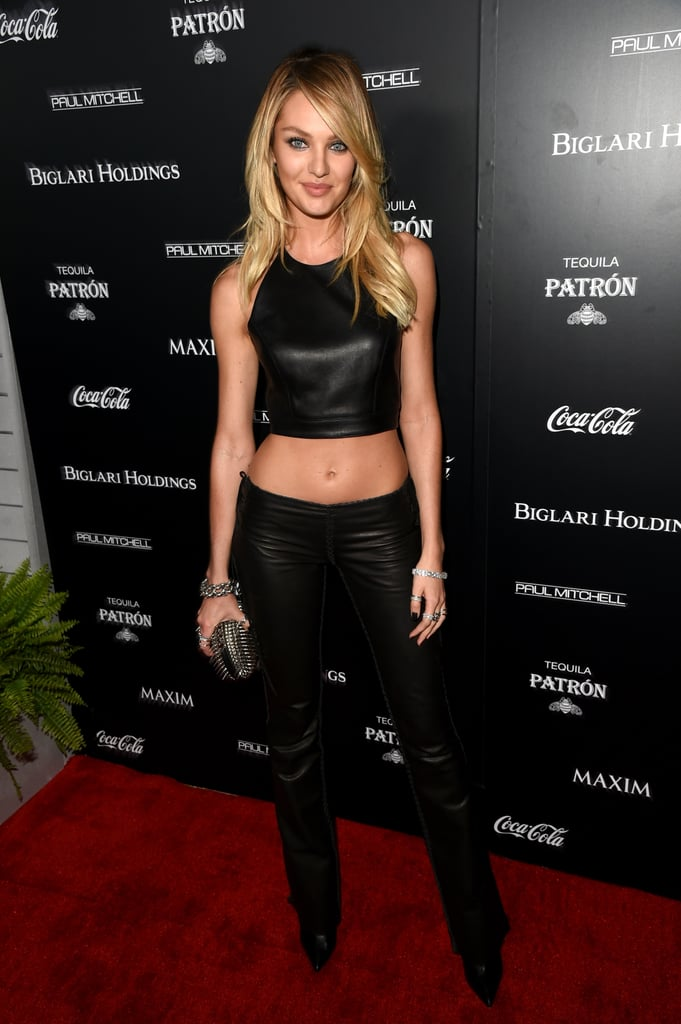 Candice Swanepoel wore an ab-baring top at Maxim's Hot 100 party in LA on Tuesday.