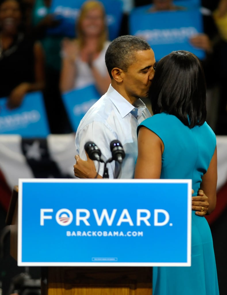 The first couple showed the love at a campaign rally in Richmond, VA.