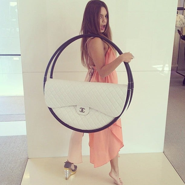 Vanessa Hudgens got to do a photo shoot with the infamous Chanel Hula-Hoop bag. Source: Instagram user vanessahudgens