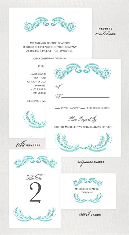 Fancy Emblem Wedding Invitation