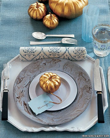 Get the Look: Turquoise and Gold Thanksgiving Table