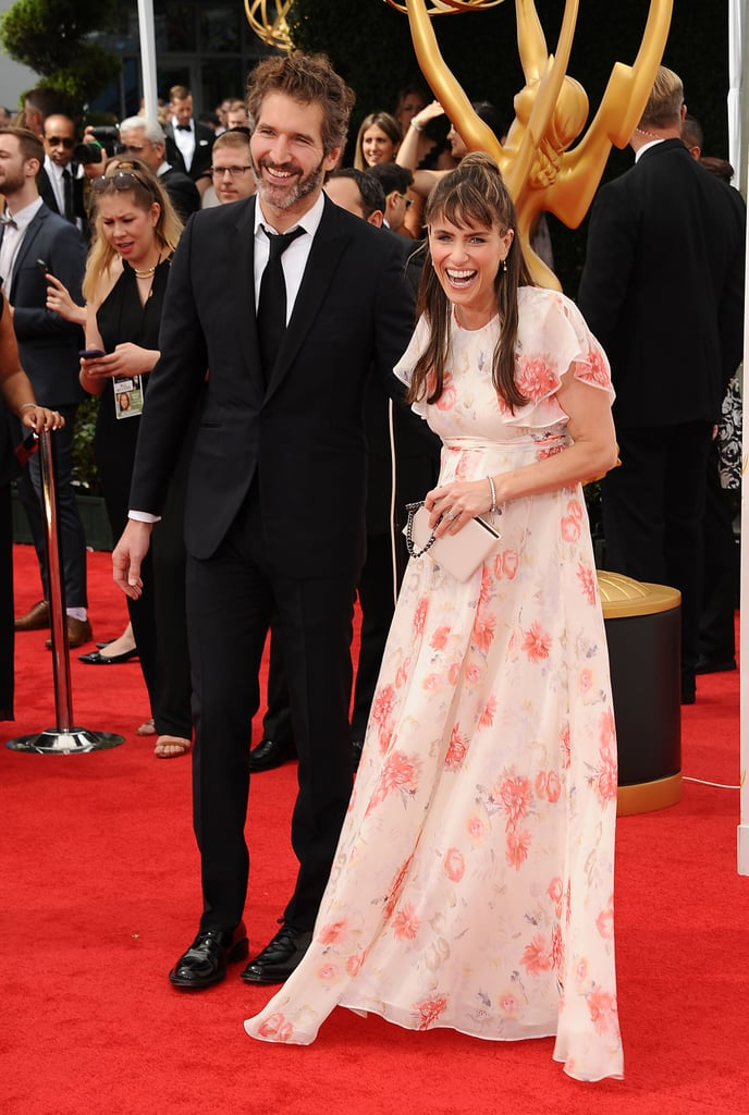 Amanda Peet and her husband, David Benioff, celebrated their baby news on the red carpet.