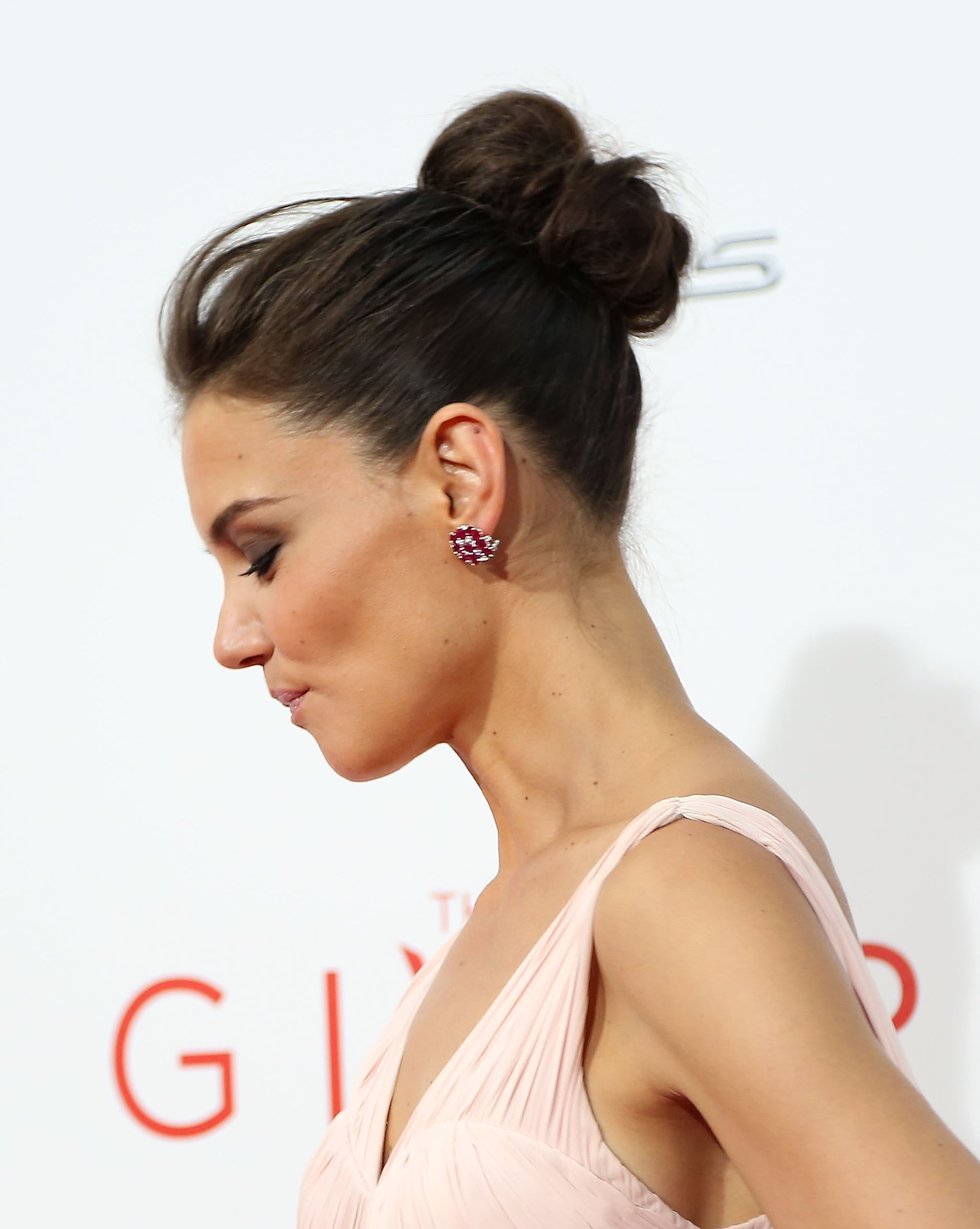 Katie's Topknot From the Right
