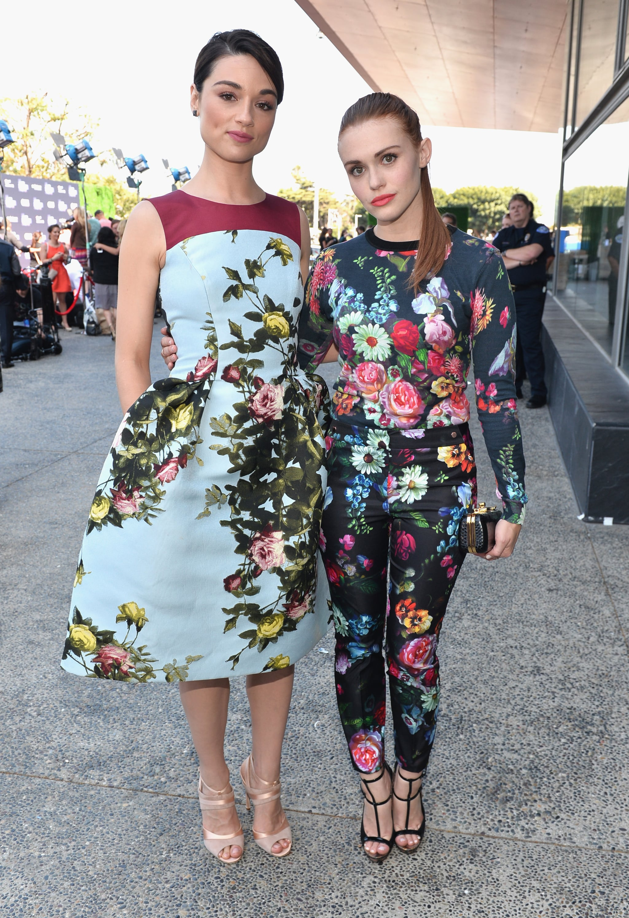 Crystal Reed (in Carolina Herrera) and Holland Roden (in Ted Baker) were standouts at the Young Hollywood Awards in florals.