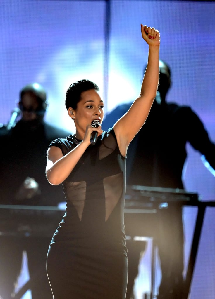 Alicia Keys performed with Maroon 5 at the Grammy Awards in 2013.