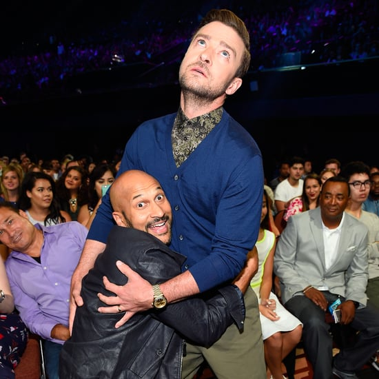 Justin Timberlake and Keegan-Michael Key Pretending to Kiss
